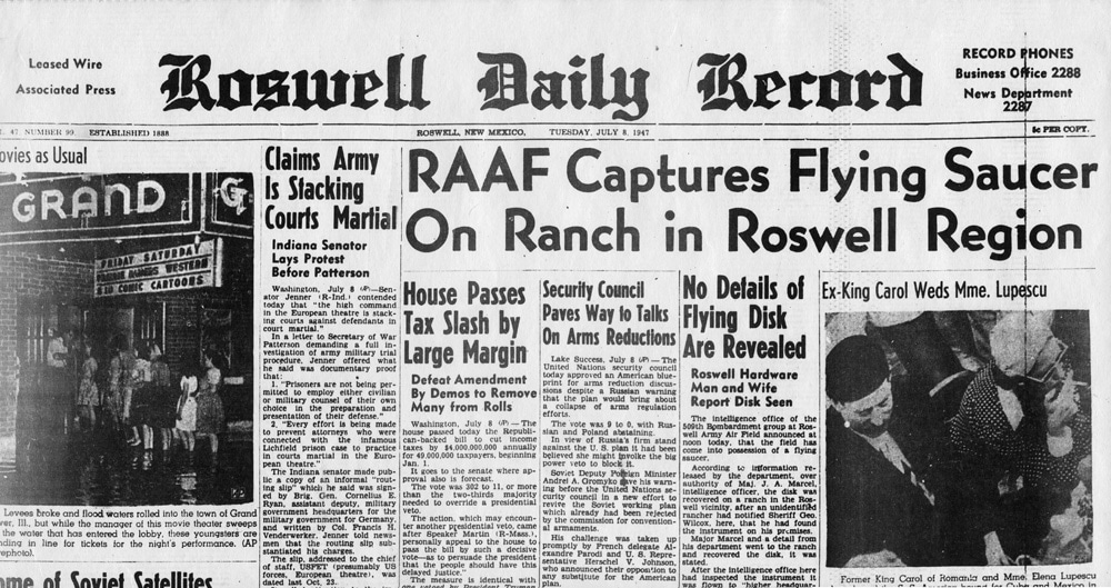 1947 UFO crash on ranch in Roswell New Mexico